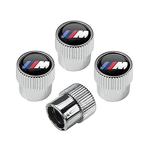 Carhome01 M Logo Tire Valve Stem Caps for BMW M Accessories, Zinc Alloy Plating Chrome Universal Car Wheel Tire Valve Covers Set of 4