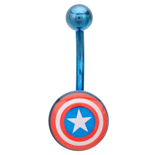 Captain America Belly Button Ring Navel 316l Surgical Steel, Logo, Dangle, Marvel