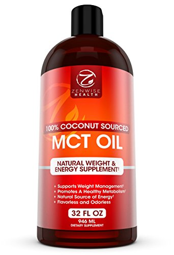 MCT Oil - 100% Derived from Coconut Oil - All Natural Liquid C8 & C10 Energy Boost & Weight Support Supplement - Great for Bulletproof Coffee, Drinks, Smoothies, Food, Salad Dressings - 32 FL OZ