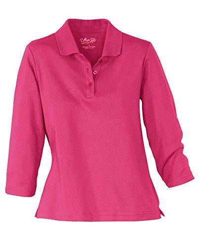 UltraSofts ¾ Sleeve Knit Polo, Azalea, Large