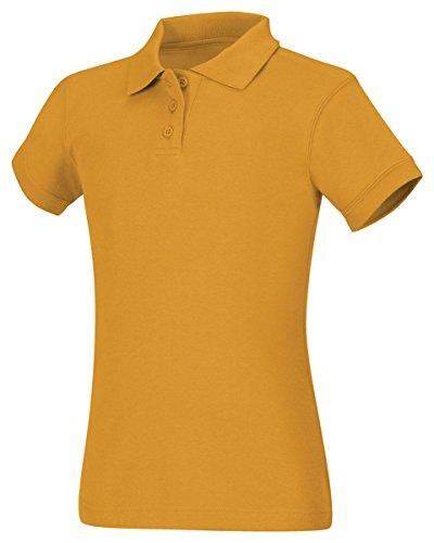Uniform Gold (CLASSROOM Big Girls' Interlock Cap Sleeve Polo, Gold, Medium)