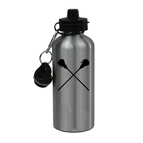 Personalized Custom Crossed Lax, Lacrosse Sticks Aluminum Silver Finish 20 Ounce Water Bottle Customizable by CustomGiftsNow