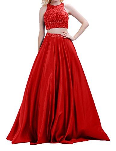 Abendkleider Partykleider linie teilig Zwei Lang Charmant Rock Damen Festlichkleider Pailletten Rot Promkleider A S4wXnIq