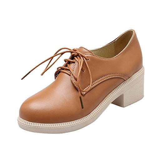 Show Shine Womens Fashion Sweet Chunky Heel Oxfords Shoes brown yellow u7VjEcVdo