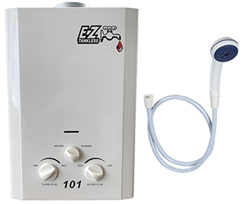 Lp Tankless Water Heater (EZ 101 Tankless Water Heater - Propane LPG - Portable - Battery Powered Ignition - Camping - RV Model: EZ101LPG)