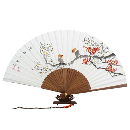 Red and White Korean Plum Flower Painting Korean Decorative Fan