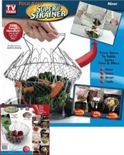 As Seen On TV Fold Away Super Strainer, Silver,