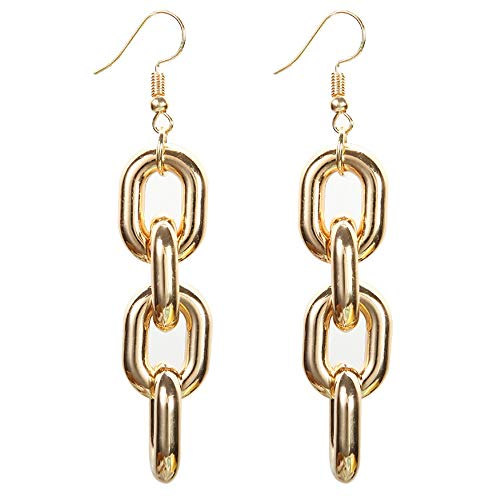 Long Link Earrings - Metal Texture Hollow Long Thick Chain Splice Section Chain Dangle Earrings for Women Girls Party Gifts (Gold)