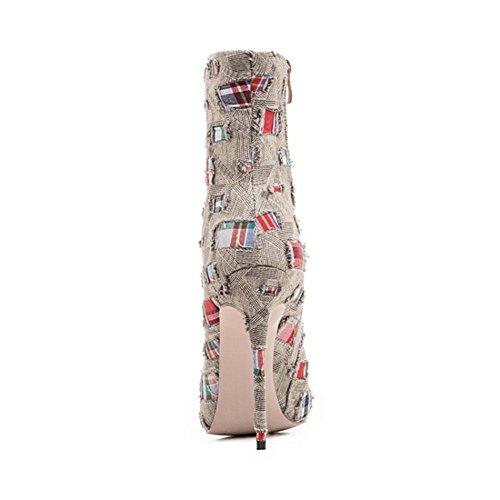 Respirant Bottes Et Belles Femmes Bottes Stiletto Bottes Talons khaki Pointu De Automne Mode BOTXV Respirant Hauts Hiver À Bottes Bout xzwUndq