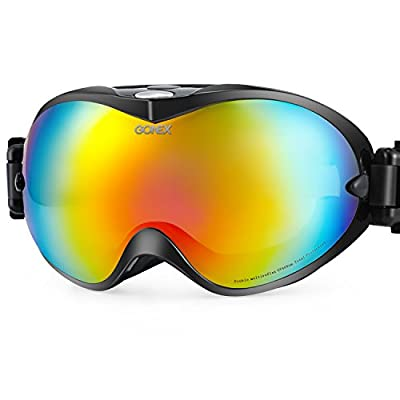 Gonex OTG Ski Goggles, Snow Goggles for Men Women Youth Anti-Fog UV Protection with Goggle Box