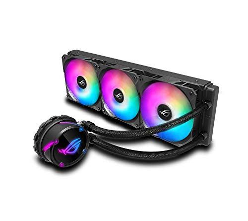 Enfriador de CPU líquido AIO todo en uno ASUS ROG Strix LC 360, radiador de 360 mm, compatibilidad con Intel 115x / 2066 y AMD AM4 / TR4, ventiladores PWM triples de 120 mm y 4 pines (ventiladores RGB direccionables)