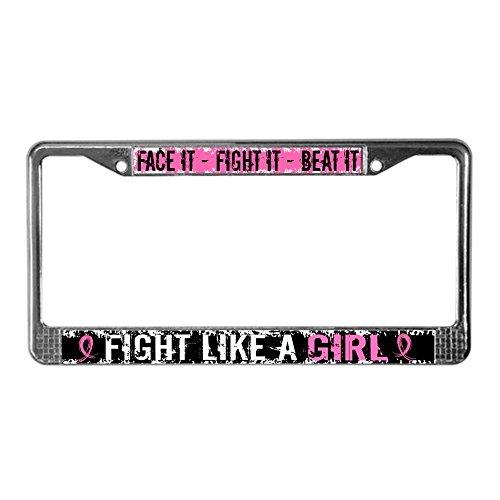 CafePress Licensed Fight Like A Girl 31. Chrome License Plate Frame, License Tag Holder (License Plate Frame Cafe Press)