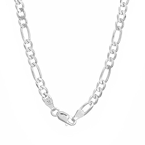 Necklace Link Figaro Women (925 Sterling Silver Italian 4mm Figaro Link Solid 925 Necklace Chain 16