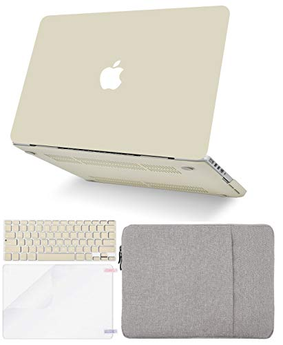 """KECC Laptop Case for MacBook Air 13"""" w/Keyboard Cover + Sleeve + Screen Protector (4 in 1 Bundle) Plastic Hard Shell Case A1466/A1369 (Cream)"""