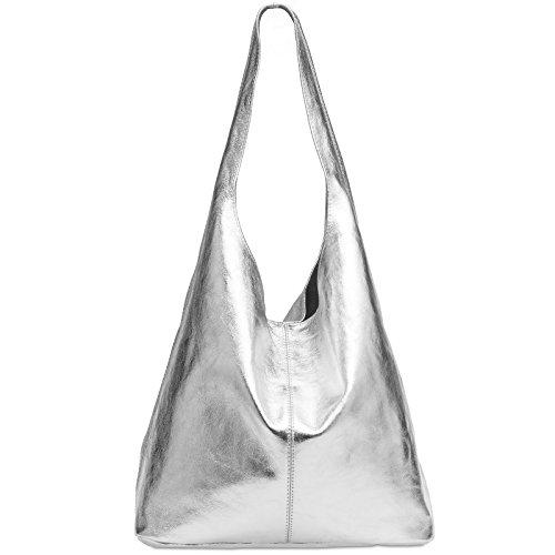 CASPAR TL767 Sac à pour femme en véritable daim, Couleur:argenté métallique, Taille:One Size