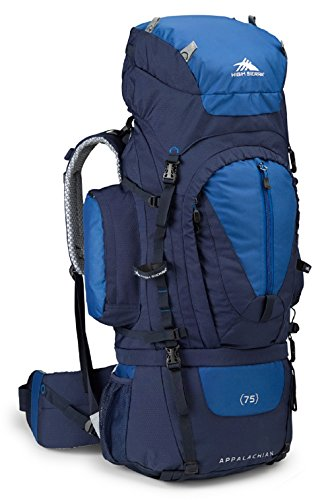 High Sierra Appalachian 75L Top Load Internal Frame Backpack; High-Performance Pack for Backpacking, Hiking, Camping, with Rain Fly, True Navy/Royal/True Navy