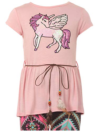 (Big Girl Unicorn T-Shirt Pant Legging Tight Girls 2 Pieces Clothing Set Pink 12 (21JK61S))