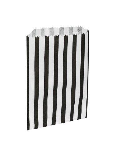 The Paper Bag Company La Empresa de Bolsa de Papel Bolsas de 5 (12,7 x 17,8 cm), diseño de Rayas de Papel, 100 Unidades, Color Negro, 100 Unidades