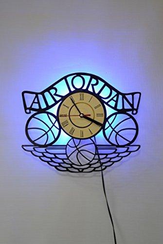 Air Jordan Design Wall Light, Night Light Function, Car Original Home Interior Decor, Wall Lamp, Perfect Gift (Blue) (Jordan Wall Clock)