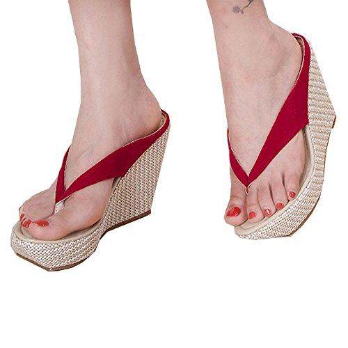 Donalworld Jente Strand Sko T Stropp Tykk Såle Sandal Flip Flop Rosa Sandaler Asia Størrelse 41