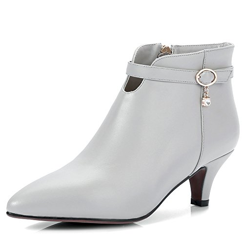 Nine Seven Genuine Leather Womens Pointed Toe Chunky Heel Cute Handmade Charming Ankle Boots Grey