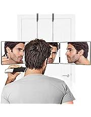 Herbst Zelf Gesneden Spiegel Drie Weg Spiegel 360 graden Instelbare Scheerspiegel voor Zelfhaar Knippen en Stylen en Kleuren, Tondeuse