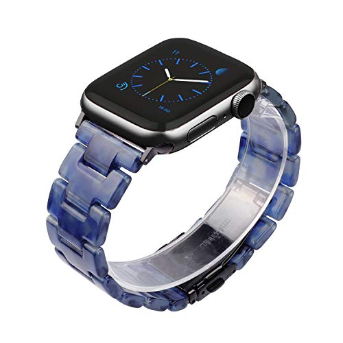 Wearlizer Deep Blue Resin Tone Compatible with Apple Watch Band 38mm 40mm for iWatch SE Lightweight Womens Wristband Cool Replacement Classic Bracelet with Metal Buckle Clasp Series 6 5 4 3 2 1 Sport