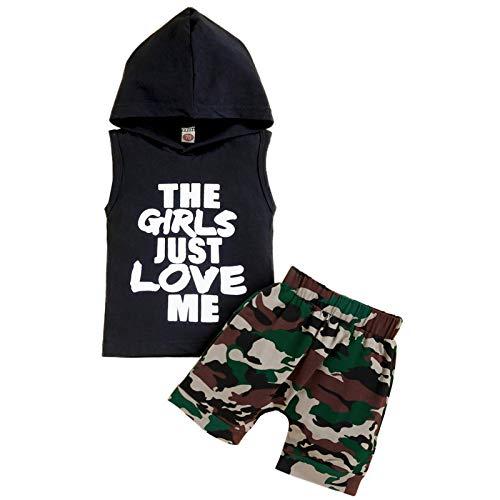 Sinhoon Baby Boys Camouflage Short Set Sleeveless Hoodie Tank T-Shirt+Camo Pants Summer Clothes