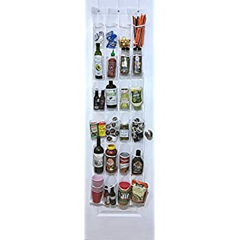 White Over The Door Pantry Organizer / Hanging Kitchen Storage Rack With 24  Clear Pockets By