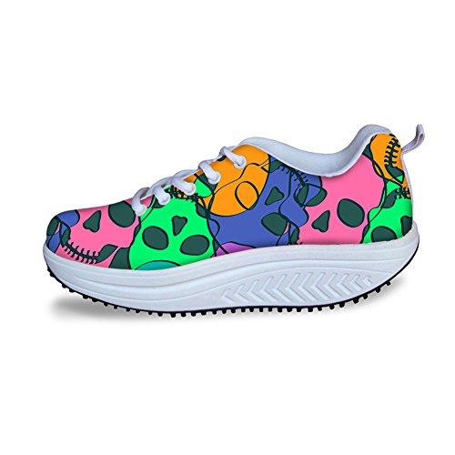 Plate-forme Chaussures De Marche Pour Les Femmes Forme Ups Sneaker Crâne Maille Respirant Casual Coin Chaussures Modèle 3