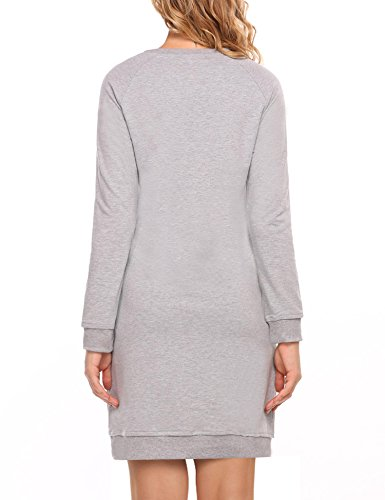 Sleeve Pockets gray Long ACEVOG Dress with 3 Women's Split Hoodie Hem Kangaroo Round Sweatshirt qtp4w6