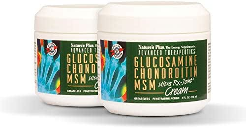 NaturesPlus Advanced Therapeutics Glucosamine Chondroitin MSM Ultra Rx-Joint Cream (2 Pack) - 4 oz Jar - High Potency Joint Support Cream - Greaseless - Penetrating Action - 8 Total ozs