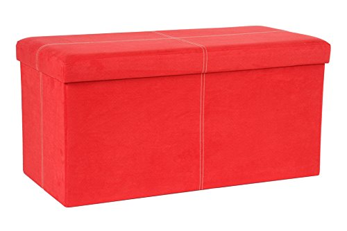 Fresh Home Elements The FHE Group Folding Storage Bench, 30 by 15 by 15-Inch, Red Suede ()