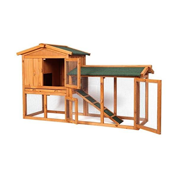 Sunnyglade Chicken Coop Large Wooden Outdoor Bunny Rabbit Hutch Hen Cage with Ventilation Door, Removable Tray & Ramp Garden Backyard Pet House Chicken Nesting Box 2