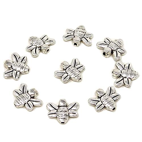 Honbay 50PCS 14x12mm Antique Silver Alloy Bee Spacer Beads