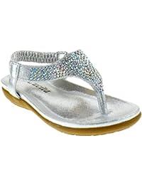 Crab 800KM Little Girls Gladiator Rhinestone Comfort Flat Sandals