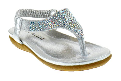 Lucita Crab 1825KS Little Girls Rhinestone Comfort Thong Sandals Silver 6 Toddler