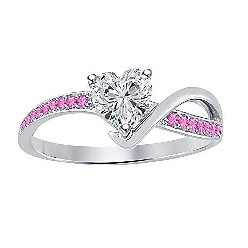 (Lovely Heart White Diamond & Pink Sapphire .925 Sterling Silver Love Promise Ring for Women's)