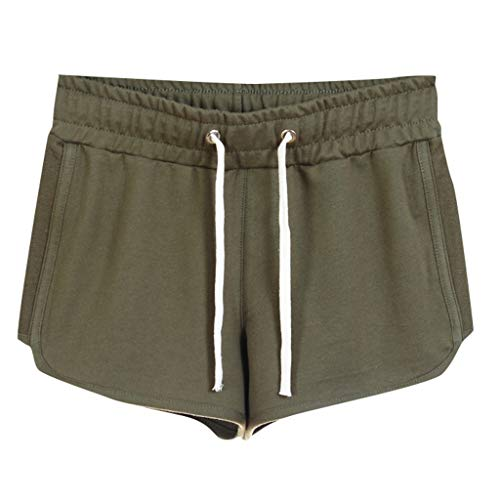 TOPUNDER Home Shorts Women's Summer Cotton Sports Casual Embroidered Shorts Green ()