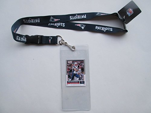 NEW ENGLAND PATRIOTS BLUE LANYARD WITH TICKET HOLDER PLUS COLLECTIBLE PLAYER CARD (Holder Patriots Ticket)