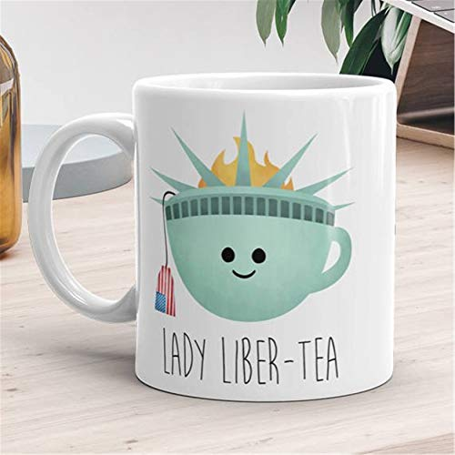 Funny Mug Lady Liber tea Lady Liberty God Bless America Cup Of Tea Teacup Statue Of Liberty Independence Day American Flag