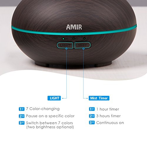 AMIR Dark Wood Grain Essential Oil Diffuser, Aromatherapy Oil Diffuser, Ultrasonic Cool Mist Humidifier with 7 Changing Color LED Lights, Waterless Auto Shut Off for Spa & Baby Room, 150ML