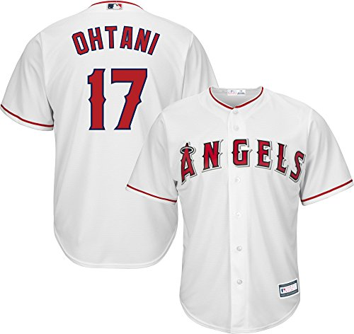 OuterStuff Shohei Ohtani Los Angeles Angels #17 White Youth Cool Base Home Replica Jersey (Youth Large 14/16) - Los Angeles Angels Jersey