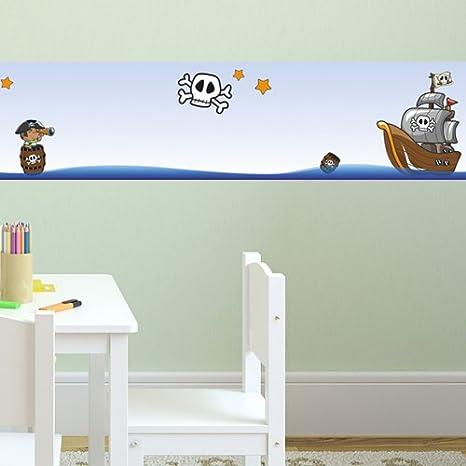 f/ürs Kinderzimmer 450 cm Wandkings Bord/üre Piraten auf Schatzsuche L/änge selbstklebend