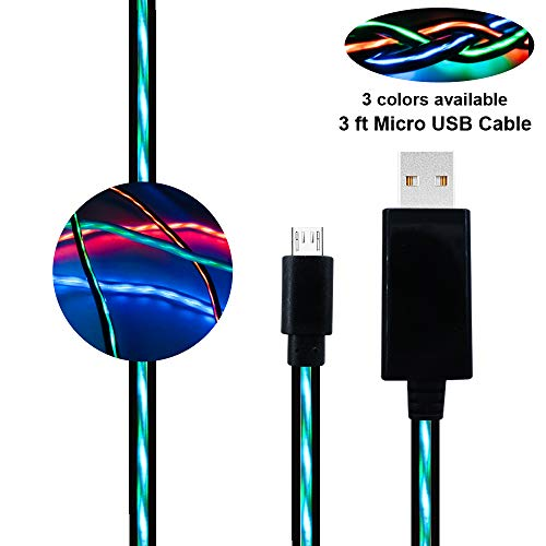 BUSOH Compatible with Light Up USB Charger Cable 3 FT Flowing Led Light Flash Glowing Charge and Sync Data Cord EL Flat Charging Wire Compatible for Samsung Galaxy S7 Edge/S8/Moto G5/PS4, Black and Gr