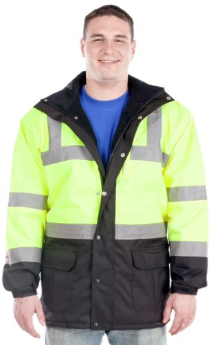 Utility Pro UHV1004 Nylon Quilted Lining High-Vis Contractor Parka Jacket with Dupont Teflon fabric protector,  Lime/Black,  3X-Large by Utility Pro (Image #1)