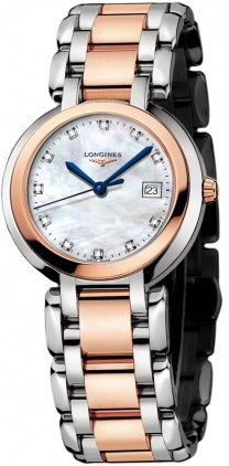 Longines Primaluna White Mother of Pearl Stainless Steel and 18kt Rose Gold Dial Ladies Watch L81125876