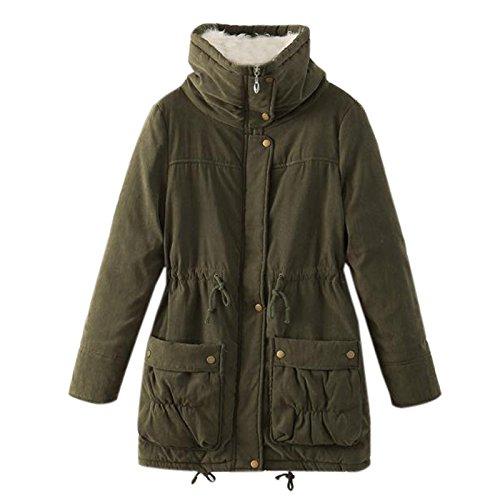 Elonglin Women Warm Winter Cotton Fleece Lined Parka Hooded Quilted Jacket Mid-Long Hooded Coat Outwear Zipper Trench Overcoat Size US 16 (Asia L) Army Green ()