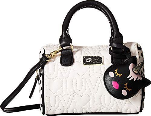 Lined Quilted Satchel - Luv Betsey Johnson Harlli Luv/Heart Quilted Mini Crossbody Satchel Bag - Ivory/Black
