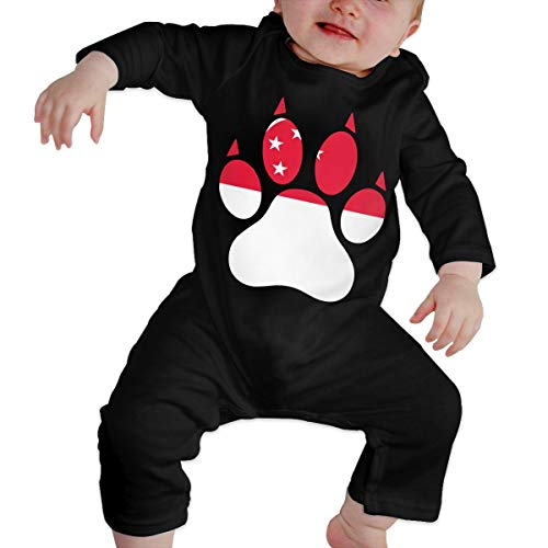 Infant Baby Boy Girl Singapore Dog Paw Long Sleeve Romper Jumpsuit, Cute Cotton Bodysuit Outfits Clothes (Singapore Cartoon Costume)